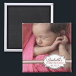 """Sweet Baby Girl Christening Brown &amp; Pink Photo Magnet<br><div class=""""desc"""">A beautiful design that creates a lovely keepsake for family and friends of your baby girl&#39;s special day. Features a full photo of baby wrapped by a faux double ribbon in chocolate brown and pretty pink, with a pretty space for the important information. A lovely keepsake of your blessed event....</div>"""