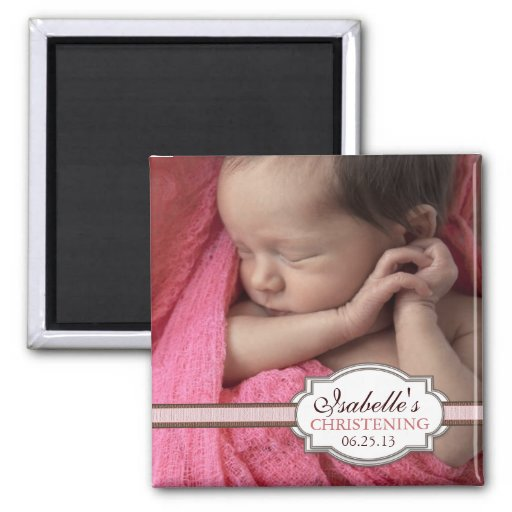 Sweet Baby Girl Christening Brown & Pink Photo Refrigerator Magnets