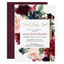 Sweet baby girl fall floral blush burgundy gold invitation