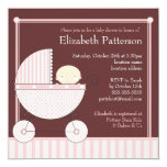 Sweet Baby Girl in Carriage Baby Shower in Pink Personalized Invitations