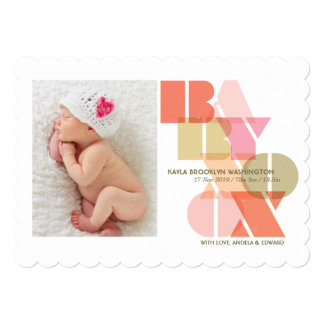 Sweet Baby Girl Love & Kisses Birth Announcement