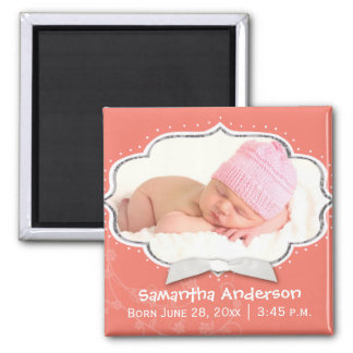 Sweet Baby Girl Photo Birth Announcement Magnets