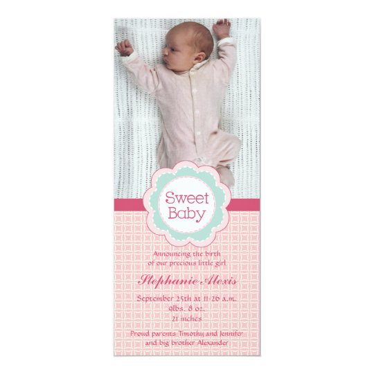 Sweet baby girl photo pink birth announcement