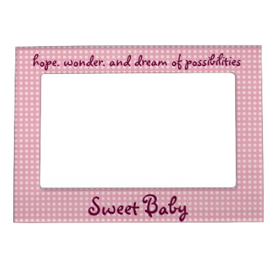 White and Pink Polka Dots Pattern. Magnetic Frame | Zazzle.com