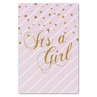 """Sweet Baby Girl Pink and Gold Confetti 10"""" X 15"""" Tissue Paper"""