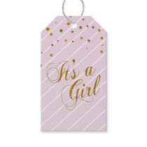 Sweet Baby Girl Pink and Gold Confetti Gift Tags