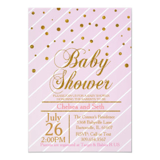 Sweet Baby Girl Pink & Gold Confetti   Baby Shower 5x7 Paper Invitation Card