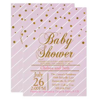 Sweet Baby Girl Pink & Gold Confetti | Baby Shower Card