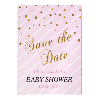 Sweet Baby Girl Pink & Gold Confetti   Baby Shower Magnetic Invitations