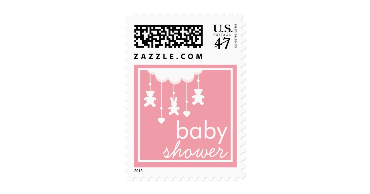 sweet baby girl pink mobile baby shower stamp zazzle