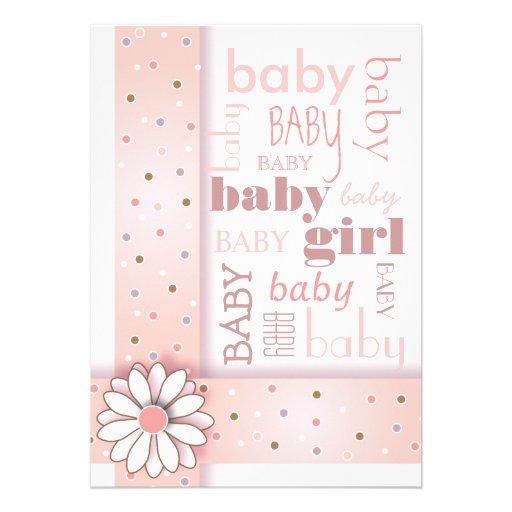 sweet baby girl pink ribbon baby shower invitation zazzle