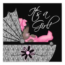 Sweet Baby Girl Pink Zebra Baby Shower Invitation