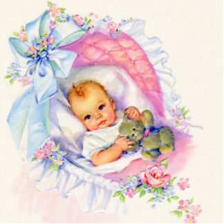 Sweet Baby Girl Vintage Pink Baby Girl Shower Statuette