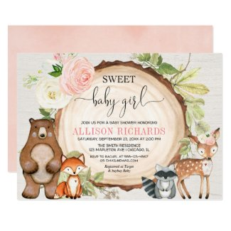 Sweet baby girl woodland cute animals baby shower invitation