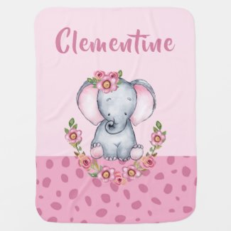 Sweet Baby Girl's Elephant Floral Animal Print Baby Blanket