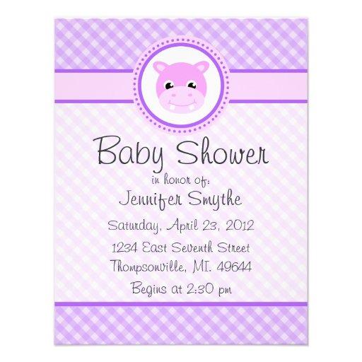 baby hippo purple baby shower invitations x 5 5 invitation