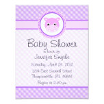 "Sweet Baby Hippo Purple Baby Shower Invitations 4.25"" X 5.5"" Invitation Card"