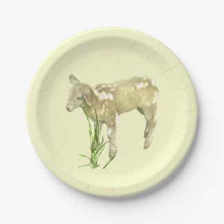 Sweet Baby Lamb on Yellow 7 inch Paper Plate