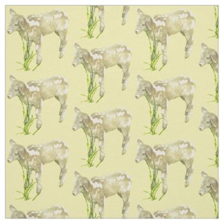 Sweet Baby Lamb on Yellow Fabric