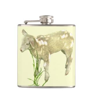 Sweet Baby Lamb on Yellow Flask