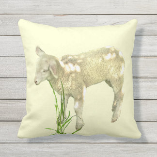 Sweet Baby Lamb on Yellow Outdoor Pillow