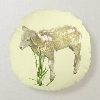 Sweet Baby Lamb on Yellow Round Pillow