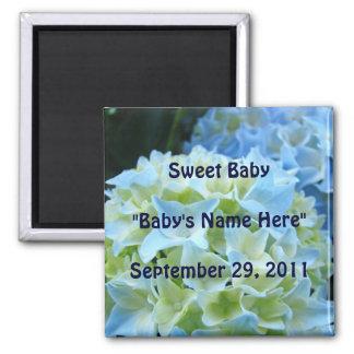 Sweet Baby magnet Baby's name Birthdate Hydrangea
