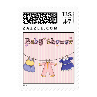 Sweet Baby on Clothes Line Shower Postage Stamp