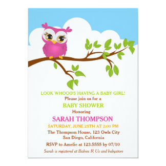 Sweet Baby Owl Baby Shower Invitation