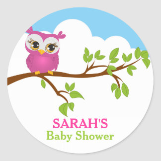 Sweet Baby Owl Baby Shower Sticker