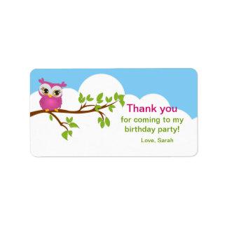 Sweet Baby Owl Birthday Favor Label Personalized Address Label