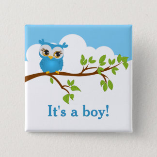 Sweet Baby Owl Boy Baby Shower Button