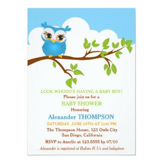 Sweet Baby Owl Boy Baby Shower Invitation