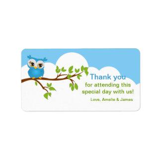 Sweet Baby Owl Boy Favor Label Address Label