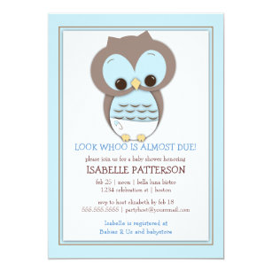 Sweet Baby Owl Boy Whoo Shower Invitation