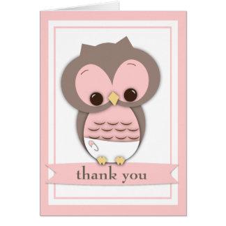 Sweet Baby Owl Girl Thank You Card