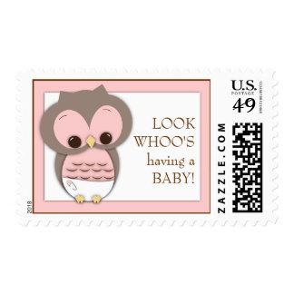 Sweet Baby Owl Girl Whoo Postage Stamp