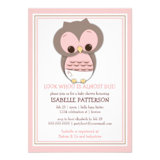 Sweet Baby Owl It s a Girl Baby Shower Invitation