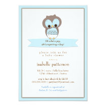 Sweet Baby Owl It's a Boy Baby Shower Invitation