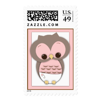 Sweet Baby Owl It's a Girl Baby Postage Stamp