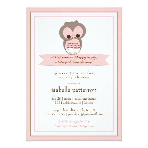 """Sweet Baby Owl It's a Girl Baby Shower Invitation 5"""" X 7"""" Invitation Card"""