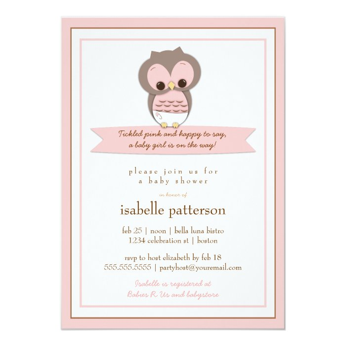 sweet baby owl it 39 s a girl baby shower invitation zazzle