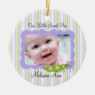 Sweet Baby Pea Photo Double-Sided Ceramic Round Christmas Ornament