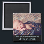 """Sweet Baby Photo Blue Keepsake Thank You Magnet<br><div class=""""desc"""">A beautiful keepsake for family and friends to thank them for sharing in your baby boy&#39;s special day.  Perfect for birthday,  christening,  or baptisms. In blue and black.</div>"""