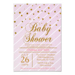 Sweet Baby Pink and Gold Confetti 3.5x5 Paper Invitation Card