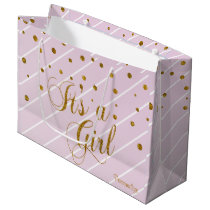 Sweet Baby Pink and Gold Confetti Large Gift Bag