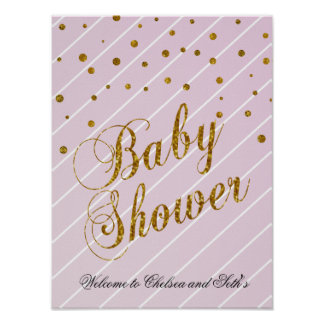 Sweet Baby Pink and Gold Confetti Poster