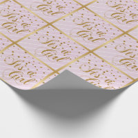 Sweet Baby Pink and Gold Confetti Wrapping Paper