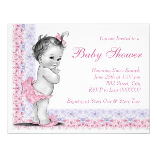 Sweet Baby Pink and Purple Baby Shower Announcement