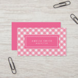 Sweet Baby Pink Gingham Business Card